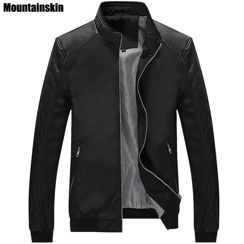 Mountainskin 5XL Spring New Men s PU Patchwork font b Jackets b font Casual Men s