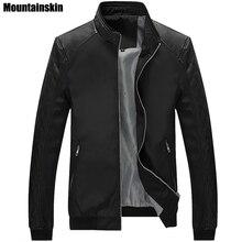 Mountainskin 5XL Весна Новый Для мужчин PU лоскутные куртки Повседневное Для мужчин тонкие куртки, мужские пальто брендовая одежда, SA167