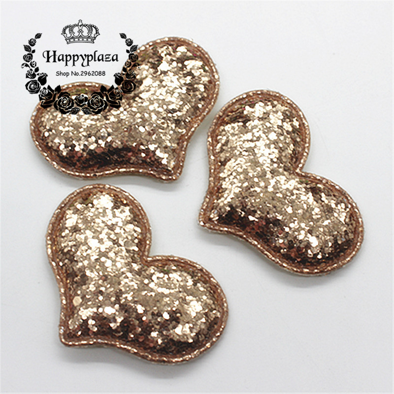 6cm 10pcs Kawaii Gold Padded Glitter Heart Patches Appliques For Clothes Sewing Supplies DIY Craft Decoration
