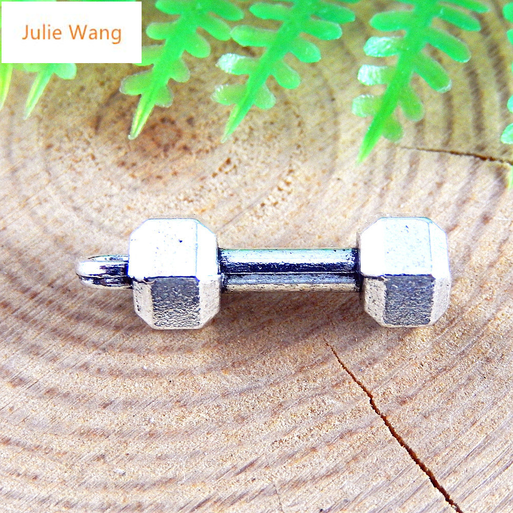 Julie Wang 20PCS Antique Silver Color Dumbbells Fitness Equipment Necklace Earring Bracelet Jewelry For Men And Women Accessor 2