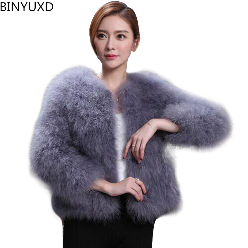 autumn winter 100% top clothes fur coat real ostrich wool turkey feather coat shearling  ...