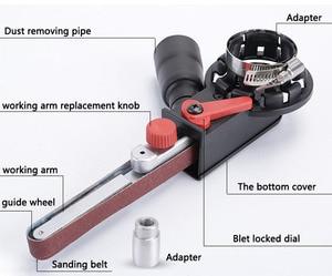 "Image 3 - 4""Sander Machine Sanding Belt Adapter Head Convert With Sanding Belts For Electric Angle GrinderWoodworking Grinding Power Tools"