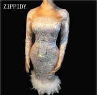 AB Камни перо платье стрейч сексуальный ночной клуб бар Одежда для танцев вечерние праздничное платье костюм выпускного вечера платья дня р