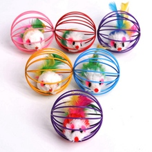 Goods For Pets Cats Mice Toy Kitty 2019 Funny In the Iron Cage Toys Fleece Fur Mouse Ball Cat Pet Supplies