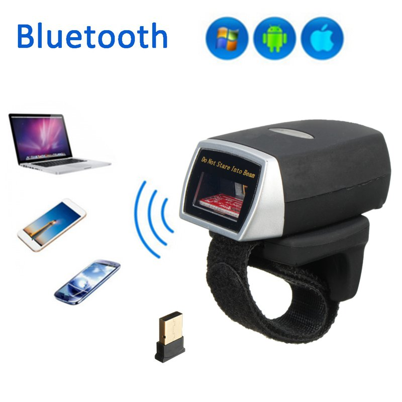 Mini Bluetooth Scanner Barcode Reader Laser Weirless Scanner Wearable Ring Bar Code Scanner 1D Reader Scan for Phone PC Tablet wireless data collector handheld barcode reader scanner laser bar code real time pos terminal nt c6