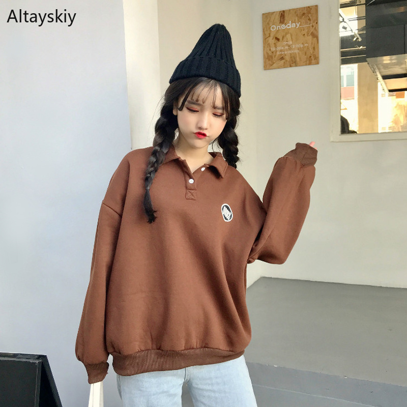 Women's Clothing Responsible Hoodies Women Turn-down Collar Printed Loose Simple All-match Korean Style Pullovers Womens Thicker Warm Soft Sweatshirts Chic