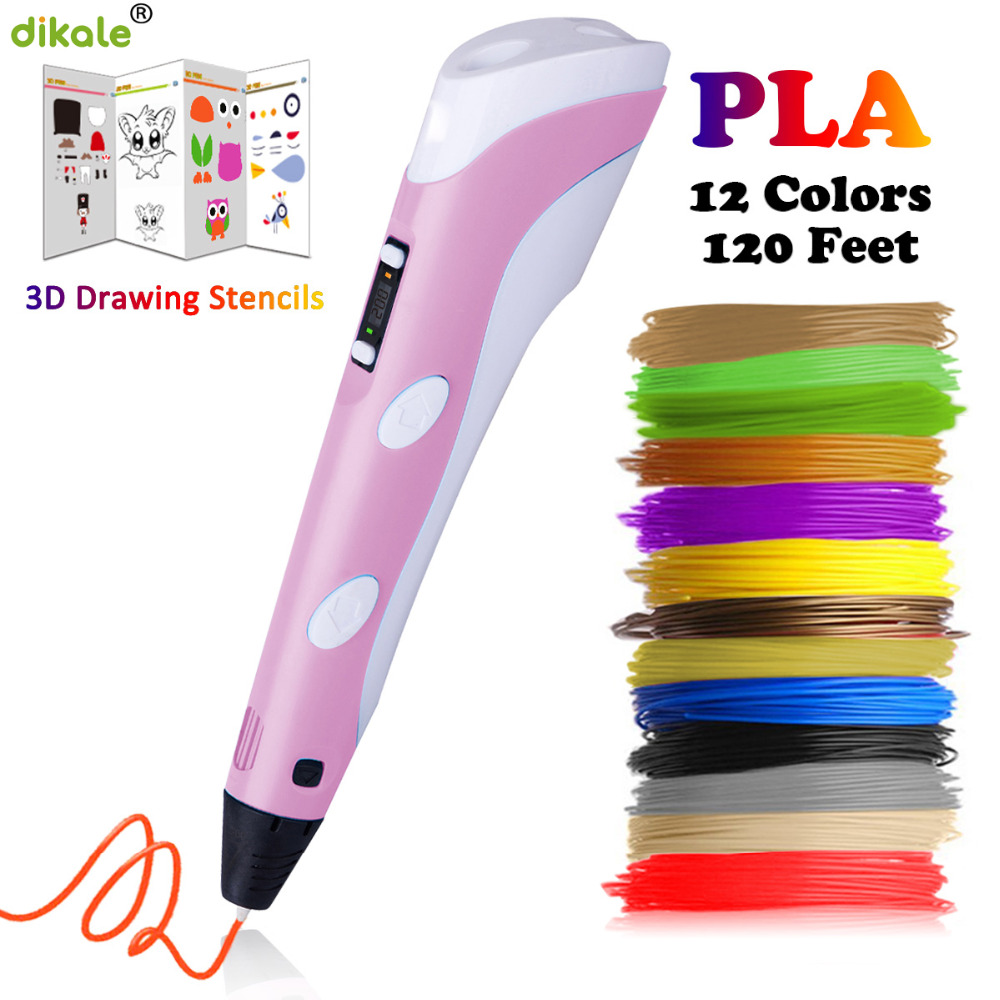dikale second generation 3d printing pen exquisite gift box set 3D drawing pen with 3 m 12 color total length 36 m filament(China)
