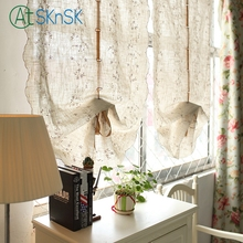 Fashion pastoral style roman curtain living curtain flower embroidered home decorative cotton linen balloon curtains for bedroom