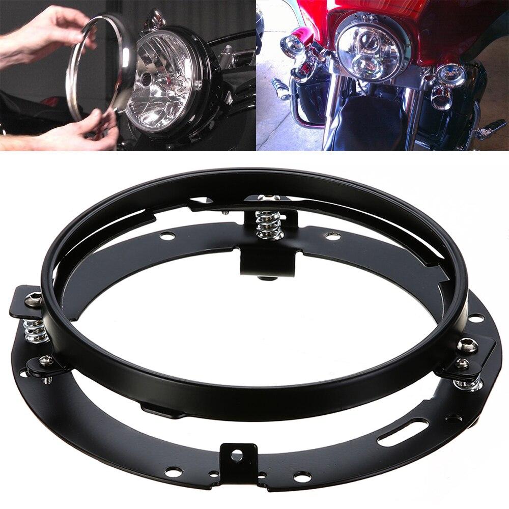 Mayitr New Black 7 Round Motorcycle Headlight Mounting Bracket Trim For Harley Headlight Ring