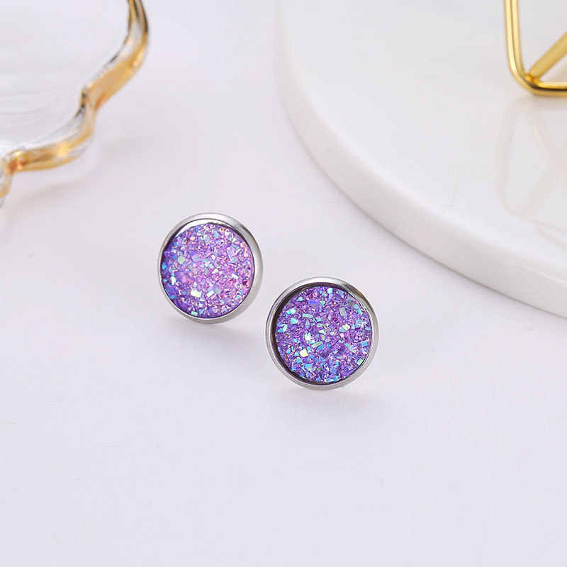 Allure Viole Star Stone Jewel Earrings For Women 10 Colors Round With Cubic Zircon Charm Flower Stud Earrings Women Jewelry Gift