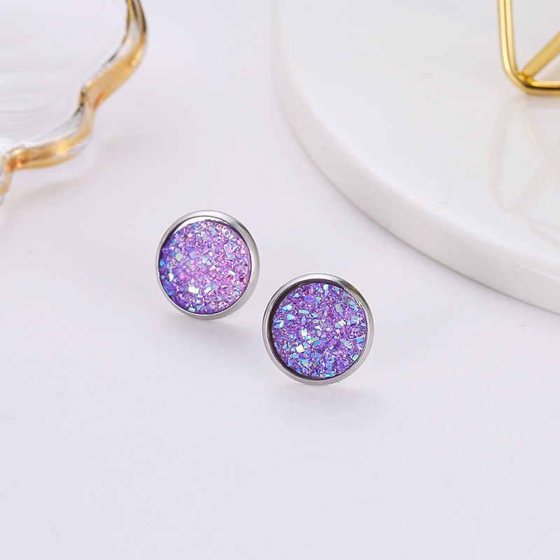 Deep Black Star Stone Jewel Earrings For Women 10 Colors Round With Cubic Zircon Charm Flower Stud Earrings Women Jewelry Gift