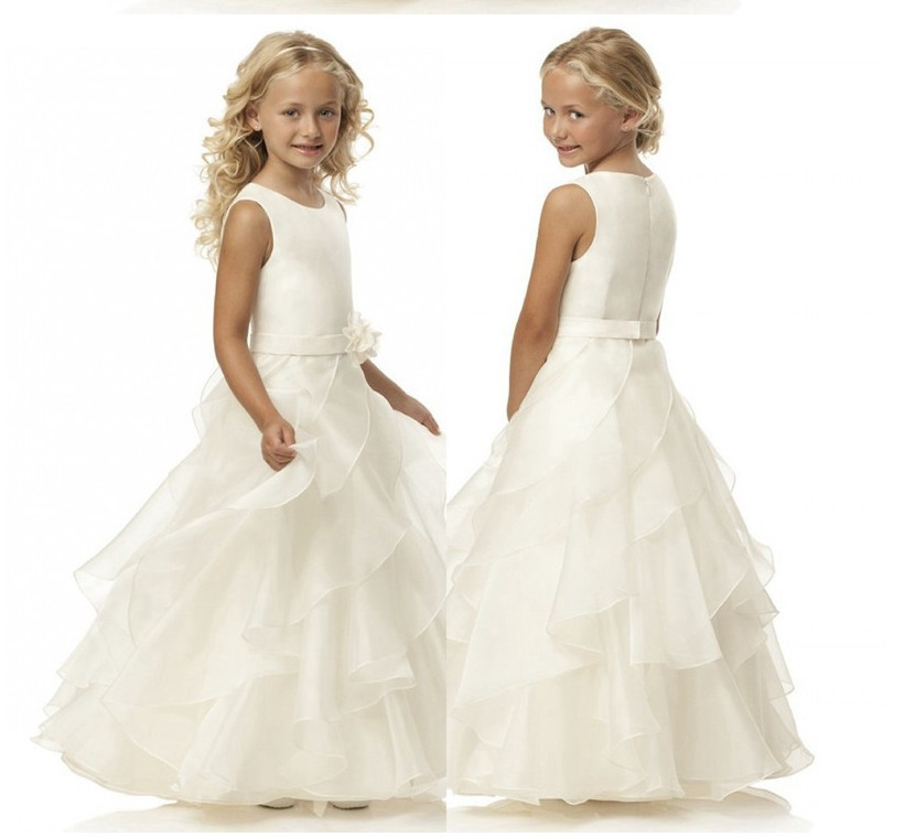 Sleeveless white   dress   PROM   dress   floor-length tiered wedding   flower   organza   flower     girl     dresses