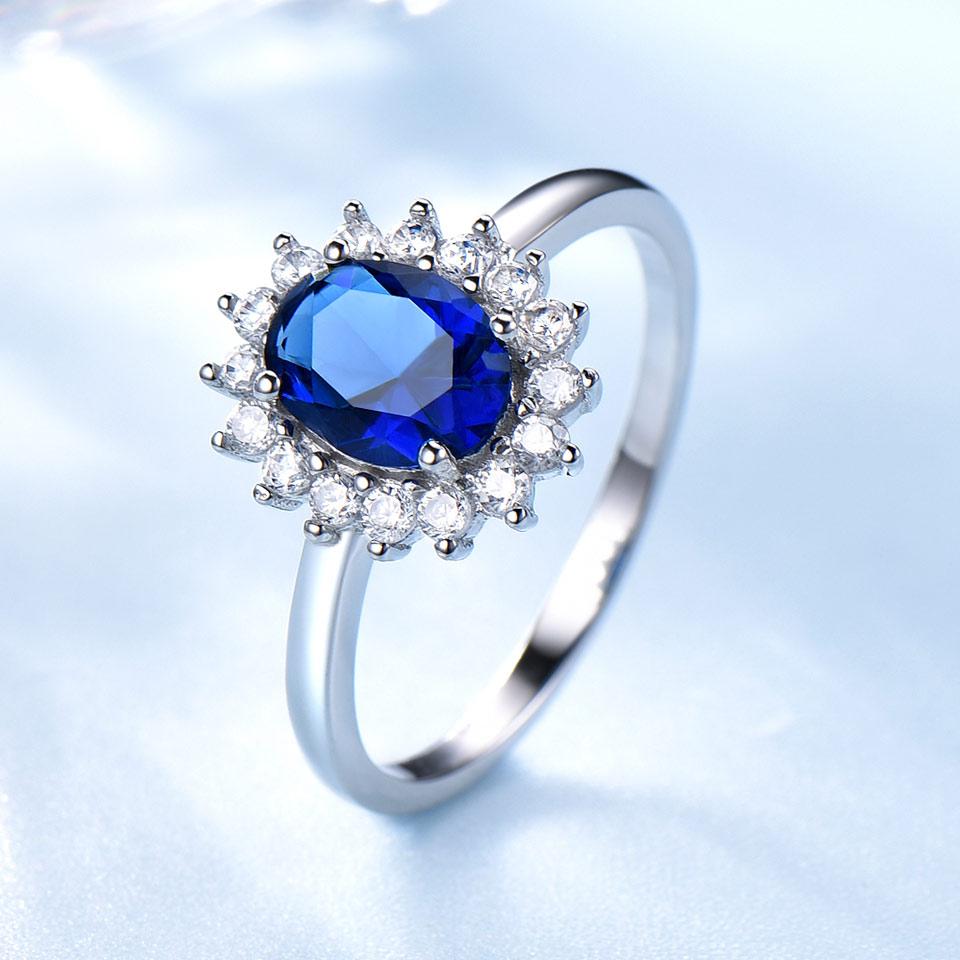 UMCHO luksuzni plavi safir 6 * 8mm princeza Diana prstenovi prave 925 - Fine nakit - Foto 2