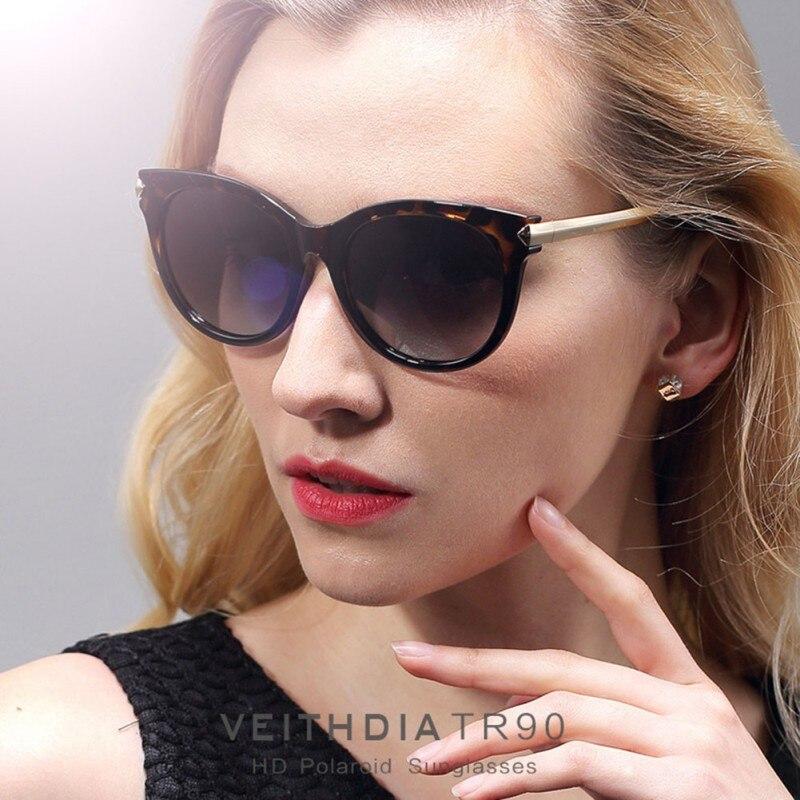 Марка Авиатор Для женщин Винтаж большой Солнцезащитные очки для женщин Поляризованные Кошачий глаз женская дизайнерская Солнцезащитные о...