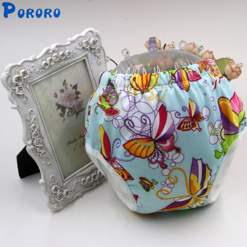 Waterproof Baby Potty Training Pants Cartoon Print Cloth Diapers with Insert Washable Diapers Nappy Cotton Learning Pants S M L