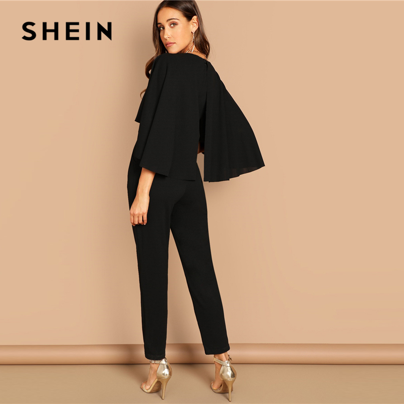 SHEIN Modern Lady Going Out Party Black Elegant V-Neck Solid Cape Long Sleeve Cloak Sleeve Jumpsuit Winter Women Jumpsuits 2