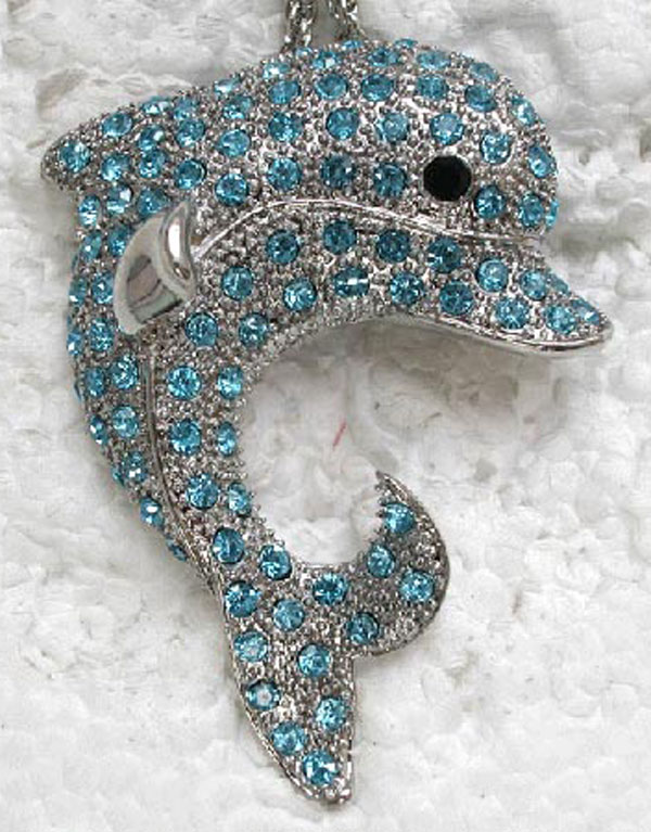 12pcs/lot Wholesale Rhinestone Porpoise Fashion Pendant Necklaces Chain Jewelry F101083