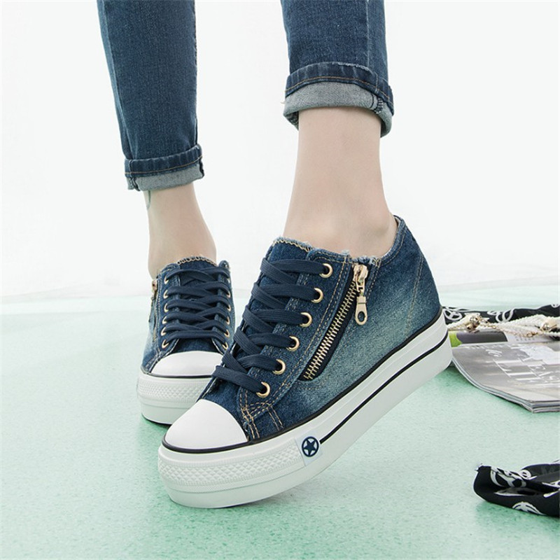 Women's Vulcanize Shoes Platform Summer Lace Up Women Canvas Shoes 2018 Fashion Solid Casual Breathable Ladies Footwear DLD904 de la chance women vulcanize shoes platform breathable canvas shoes woman wedge sneakers casual fashion candy color students