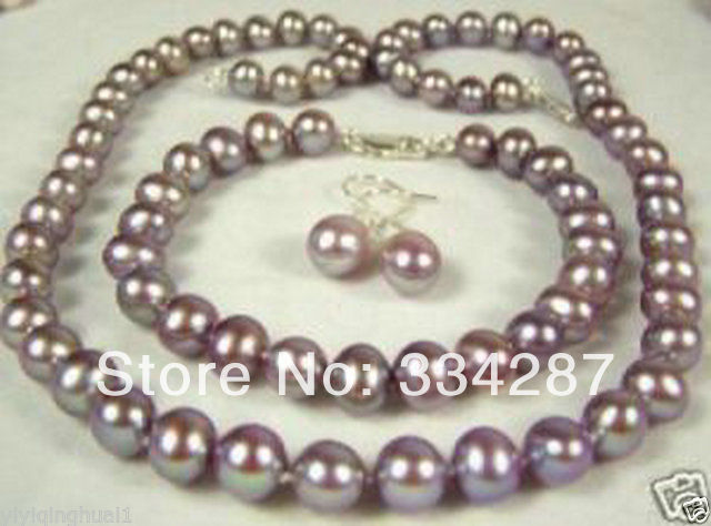 8 9mm Freshwater purple pearl necklace set