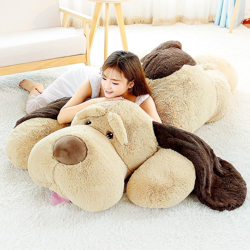 Giant Teddy Dog Plush Toy Kawaii Stuffed Puppy Dog Soft Plush Animal Pillow Home Sofa Decor 60/80/100cm fancytrader new style giant plush stuffed kids toys lovely rubber duck 39 100cm yellow rubber duck free shipping ft90122