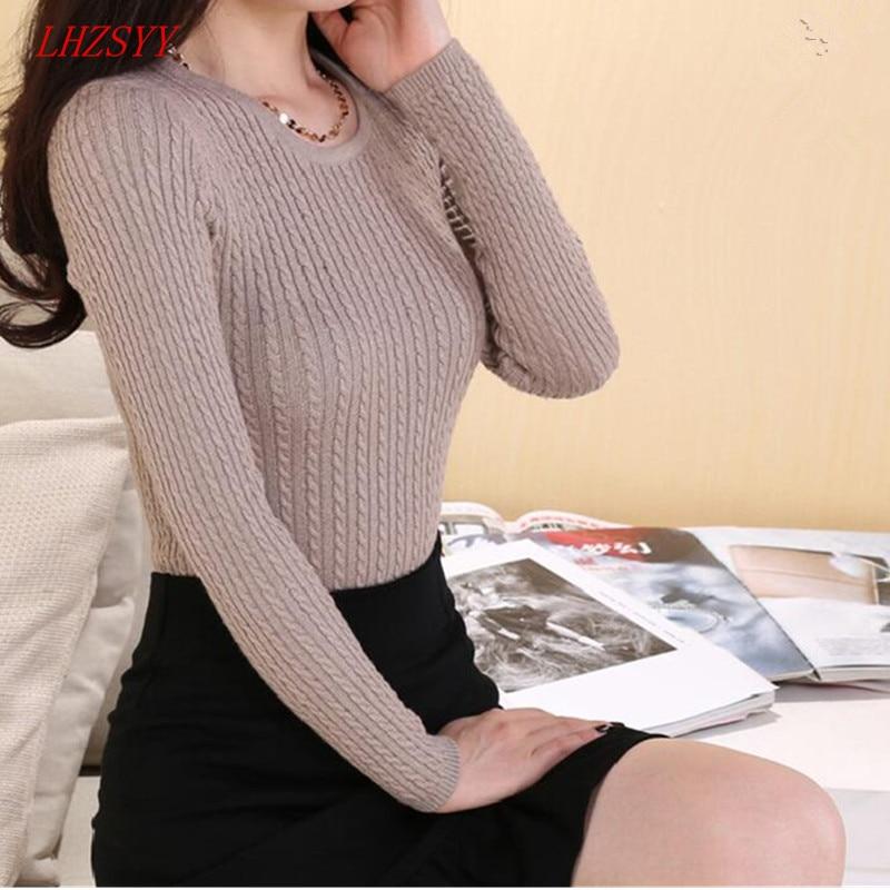 LHZSYY 2018 Nuevo Otoño Invierno Suéter de Cachemira Moda de punto salvaje Lana O-collar Suéteres Mujeres Solid Tight suéter de manga larga