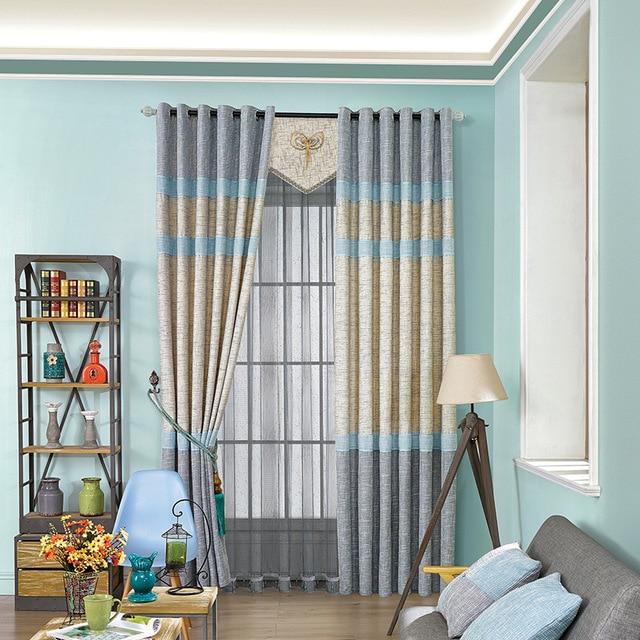 bleu jaune rideau tissu salon chambre moderne simple pissage blackout ray rideaux pour salon. Black Bedroom Furniture Sets. Home Design Ideas