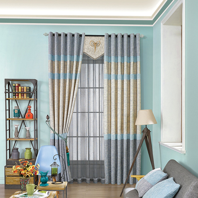 Blue Yellow Curtain Cloth Living Room Bedroom Modern Simple Splicing  Blackout Striped Curtains For Living Kitchen