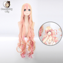 Macross F Sheryl Nome Cosplay Wig Full Bangs 120cm Women Blonde Pink Ombre Wavy Long Synthetic Hair High Temperature Fiber