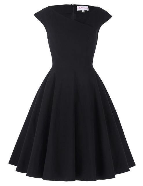 Women Dress Cap Sleeve Cross V-Neck Plus size clothing Audrey hepburn Retro Swing Casual 50s Vintage Rockabilly Dresses Vestidos