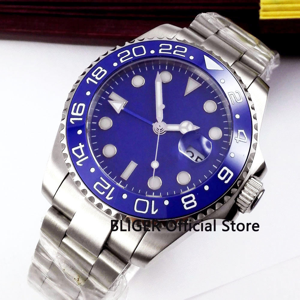 Solid BLIGER 43MM Blue Sterile Dial Ceramic Rotating Bezel GMT Function Luminous Sapphire Automatic Movement Men's Watch B323