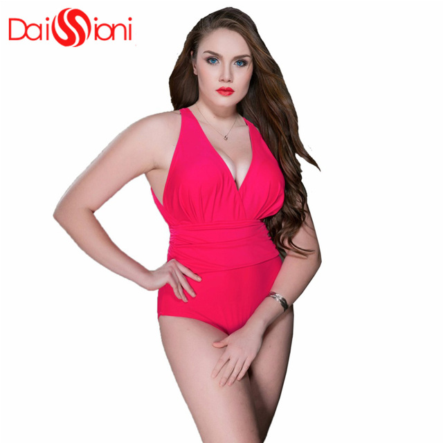 a3728311783e9 One Piece Swimsuit Plus Size Swimwear Women 2018 Summer Beach Wear Halter  PushUp Bathing Suit Swim
