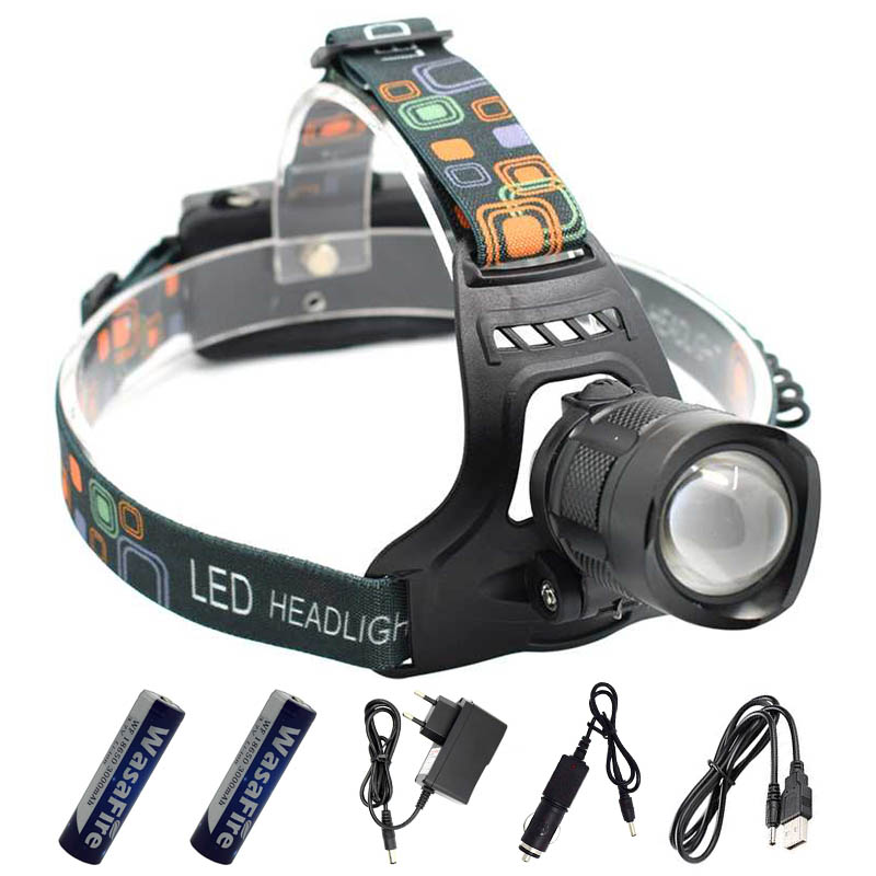 Rechargeable XML T6 Headlight Cycle LED Headlamp USB Charging Zoomable Frontal Flashlight Head Torch 18650 Fishing Running Light 8000lm usb rechargeable head lamp torch xml t6 cob led white red light headlamp frontal led running headlight usb cable by 18650