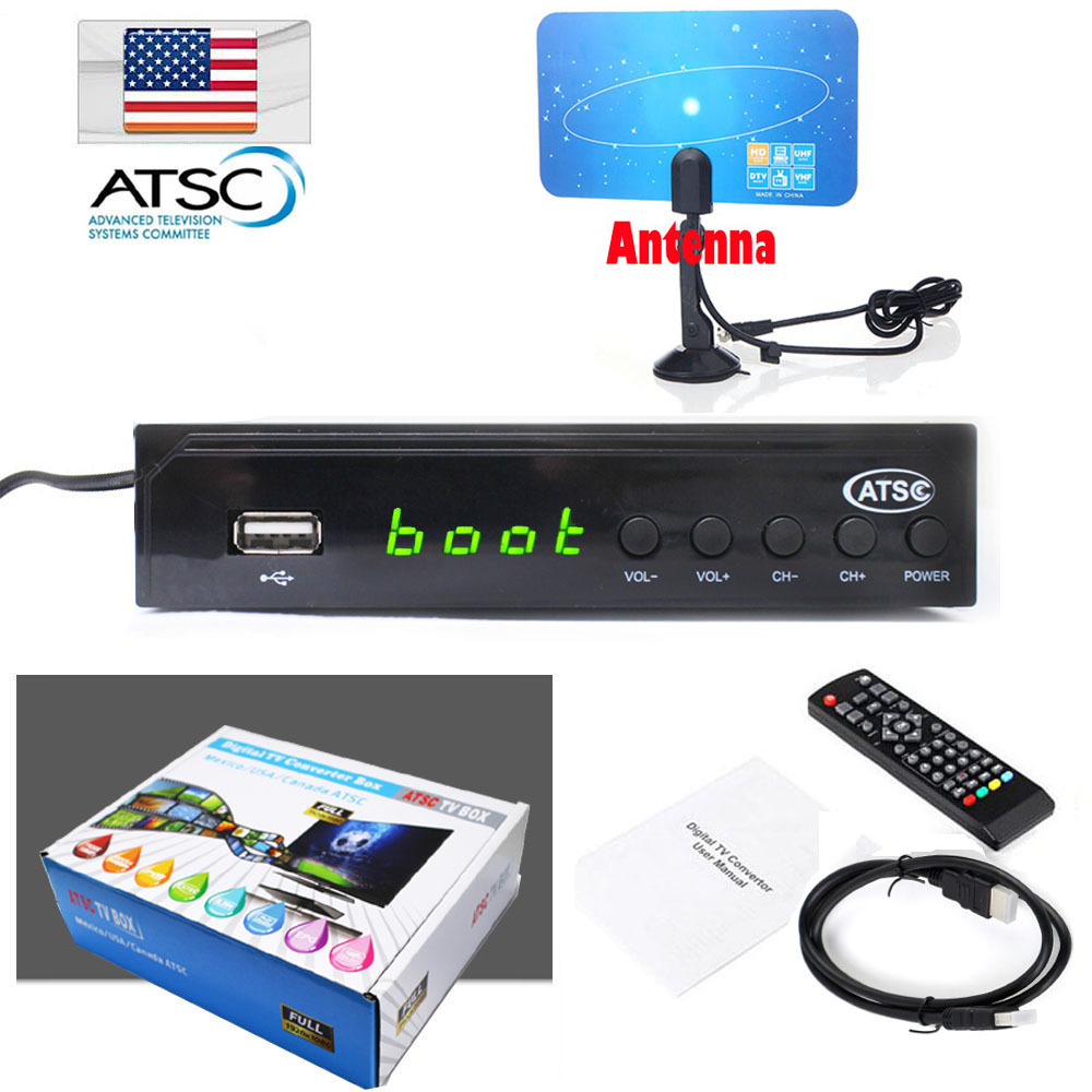 FTA Digital Analog Converter HD 1080P ATSC Terrestrial Broadcast Set Top Tv Box Receiver ...