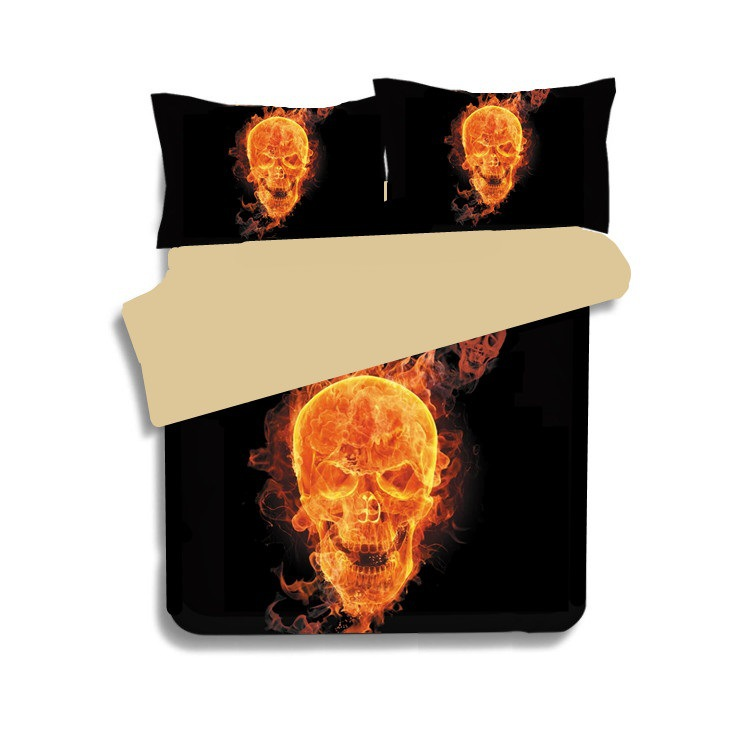 Skull Bedding Set   3D Printed Duvet Cover Flame Fire Bedspread 3pcs Home Textiles Skull Bedding Set   3D Printed Duvet Cover Flame Fire Bedspread 3pcs Home Textiles