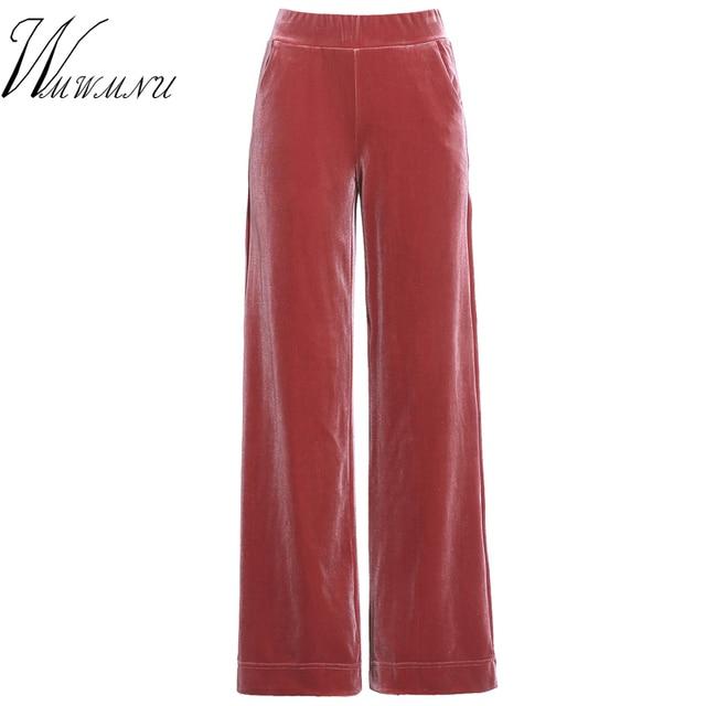 באיכות גבוהה Pleuche ישר מכנסיים נשים חם Slae מוצק צבעים גבוהה מותן Loose מכנסיים מקרית כיס Velet רחב רגל מכנסיים