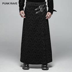 Панк рейв для мужчин's викторианская готика черные длинные жаккардовые килт с двумя синтетических Vegan кожа ремни Оригинальные юбки брюки