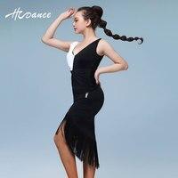 NOUVELLE ARRIVÉE Femmes Latine Vêtements Spandex Sans Manches Noir flamengo Salle De Bal Tango Salsa Robes de danse Latine costumes A351