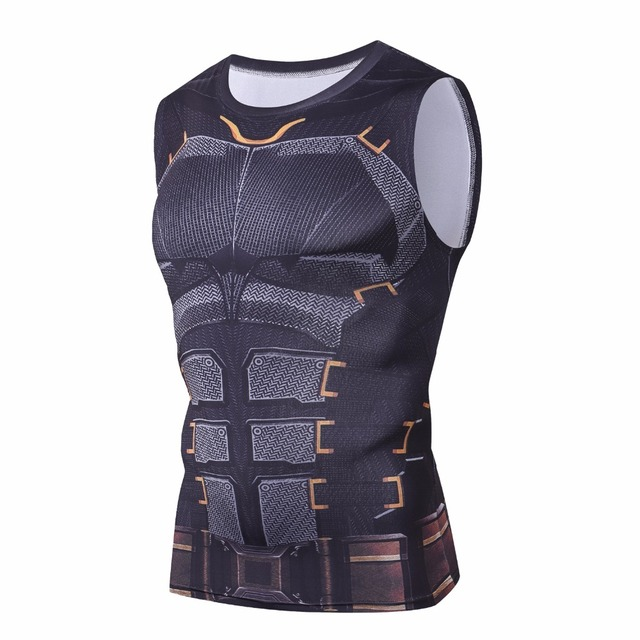 8bd1a639ec909 Iron Batman Sleeveless 3D Printed T-Shirt Marvel Superhero Superman Spiderman Black  Panther Tops Men T Shirt Compression Shirts