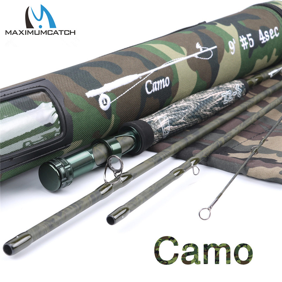 Maximumcatch V-Camo 9FT 5WT 4Pieces/7Pieces Fly Rod Fast Action Fly Fishing Rod (Graphite IM10) & Cordura Tube maximumcatch fly fishing rod 9ft 5wt 4pcs half well fast action with aluminium tube fly rod