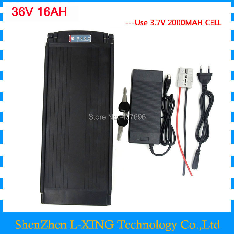 Electric Bike battery 36V 16AH 500W 36 V lithium battery pack with tail light use 2000mah 18650 cell 15A BMS 42V 2A Charger стоимость