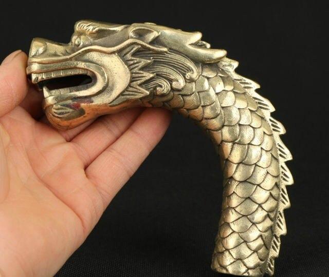 TNUKK exquis chinois vieux laiton fait à la main de bon augure Dragon Statue bâton de marche tête.