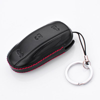 TOYIKIE New Gift 4D Car Geunine Leather Key Wallet Cover Case Shell For Tesla Model S
