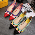 European Famous Brand Women Flats Mix Color Genuine Leather Slip On Shoes Woman Pointed Toe Rivets Flats Ladies Single Shoes