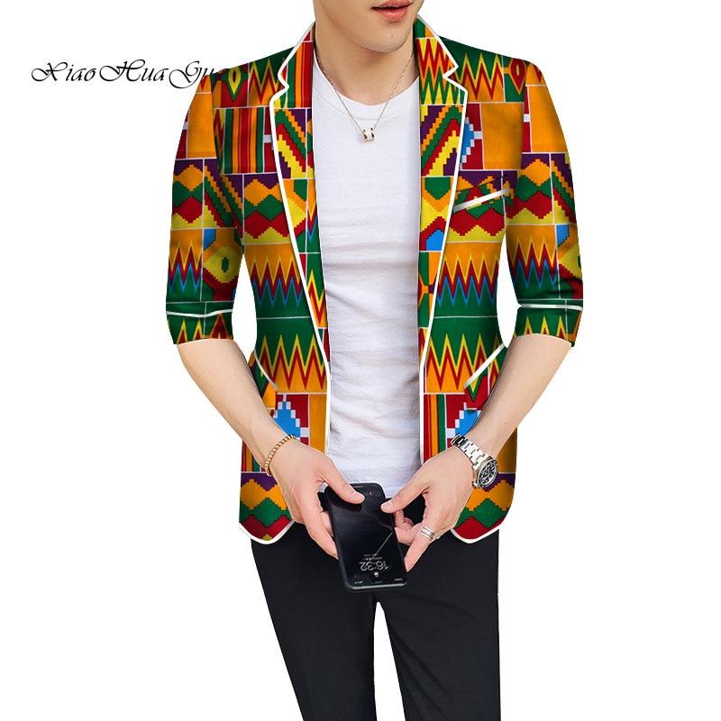 Slim Fit Men Casual Men Blazer Fancy African Dashiki Men Clothes Wedding Party Suit Blazer Jacket Tops Coat Dashiki Bazin WYN774