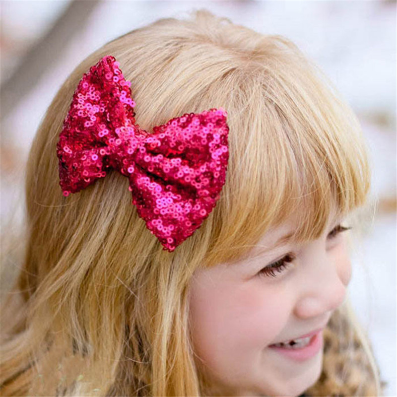 9ddf7718c434 2017 New Children Sequin Barrettes Cute Baby Girl Big Bow Hair Accessories  headband Baby Headwear baby girl headbands-in Hair Accessories from Mother    Kids ...
