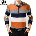 MIACAWOR 2017 Новая Мода Полосатый Мужчины Polo Рубашки Высокого Качества для Мужчин бизнес Camisa Polo Длинные Рукава Повседневная Мужчины Топы и Тис MT560