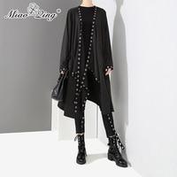 MIAOQING Fashion Punk Black Long Coat Women Spring Fashion Hollow Metal Ribbons trench coat Oversize Gothic overcoat Windbreaker
