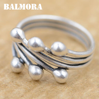 BALMORA 100 Real 990 Pure Silver Rings For Women Party Gift 990 Silver All Match Ring
