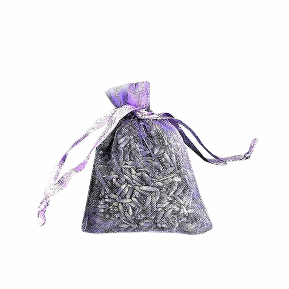 12 мешков Лавандовый маленький Сиреневый цветок мешочек Саше сушеные цветы с сумочка из органзы с завязкой для прополки домашние офисные ящики Car2.6