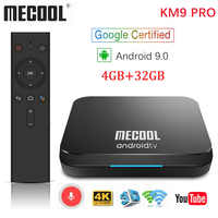 MECOOL KM9 Pro Google Certificato Androidtv Android 9.0 TV Box 4GB 32GB Amlogic S905X2 4K Dual Wifi smart TV box TX6 T9 KM3 ATV